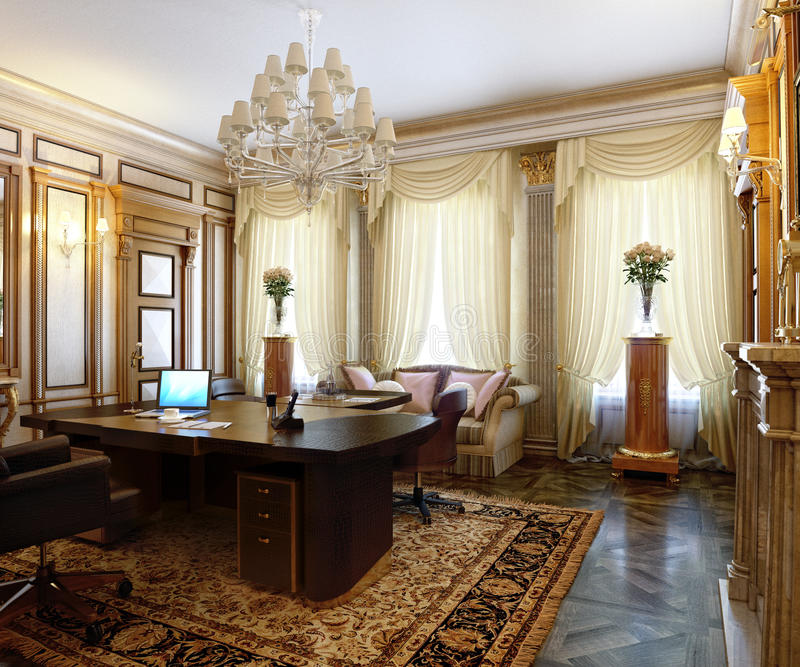 Posh Office In A Classic Style Stock Illustration