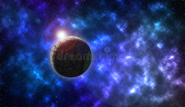 Rock planet in deep space stock illustration Illustration