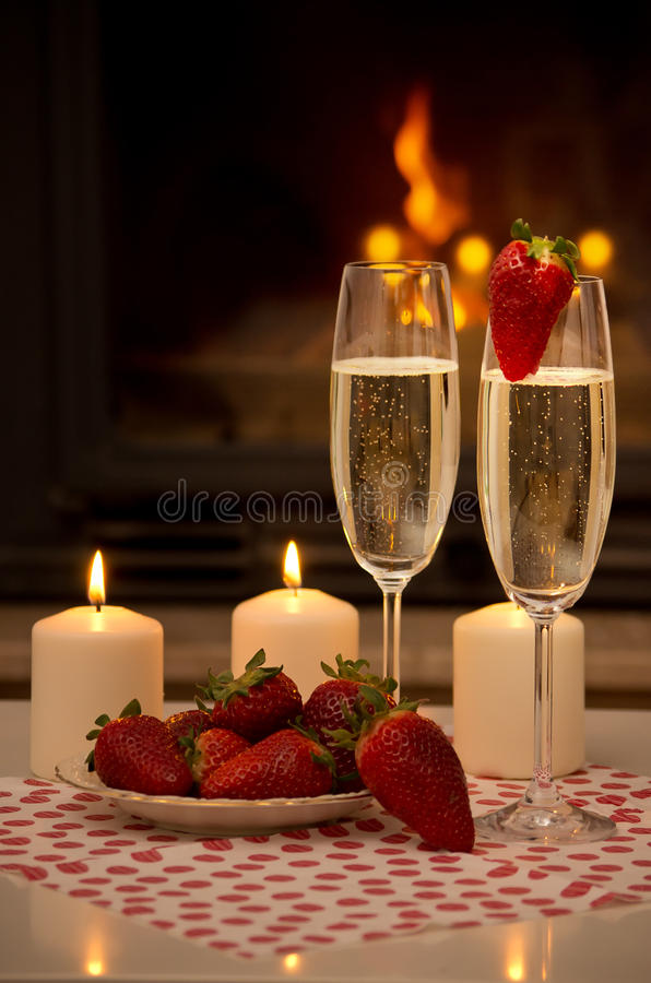 Romantic Evening By The Fireplace Stock Photo Image Of