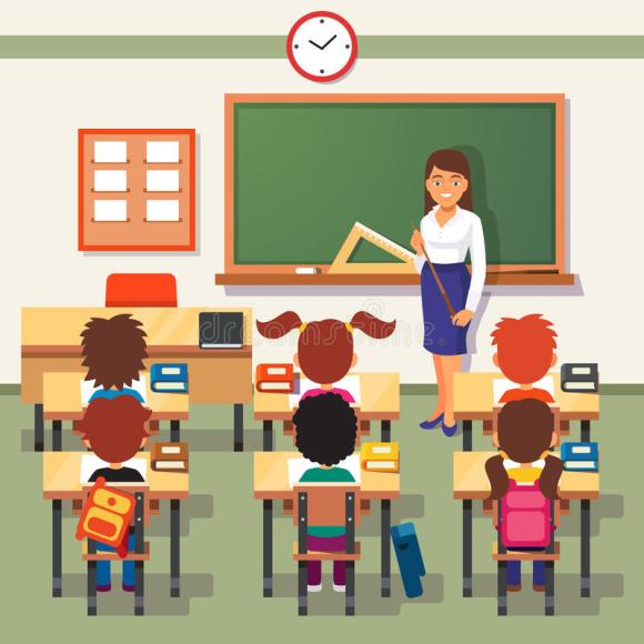 School Lesson. Little Students And Teacher Stock Vector ...