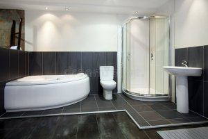 Schwarzes Badezimmer stockbild. Bild von zuhause, dusche ...