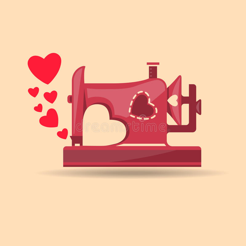 Download From Sewing Machine With Love Stock Vector - Image: 61269895
