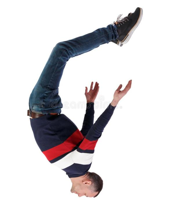 Man Falling Upside Down From The Sky Stock Photo - Image ...