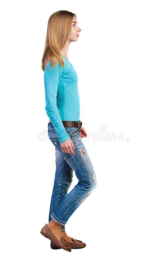 Side View Of Walking Woman In Jeans Stock Photo Image
