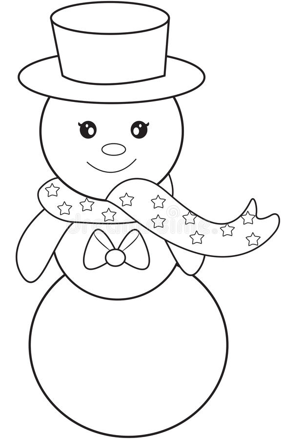 Snowman Coloring Page Stock Illustration Illustration Of Characters 52168699