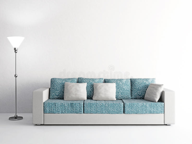 Sofa Und Lampe Nahe Der Wand Stock Abbildung - Bild: 54018348