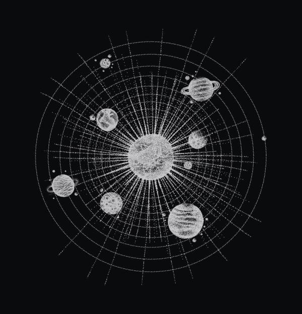 Solar System In Dotwork Style. Planets In Orbit. Vintage ...