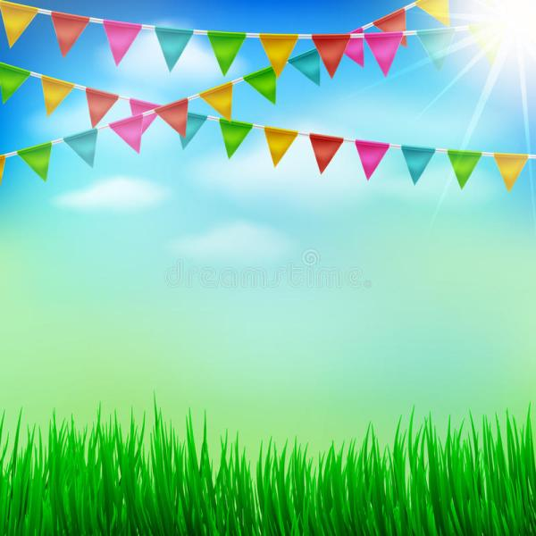 Spring And Summer Garden Party Background With Bunting ...