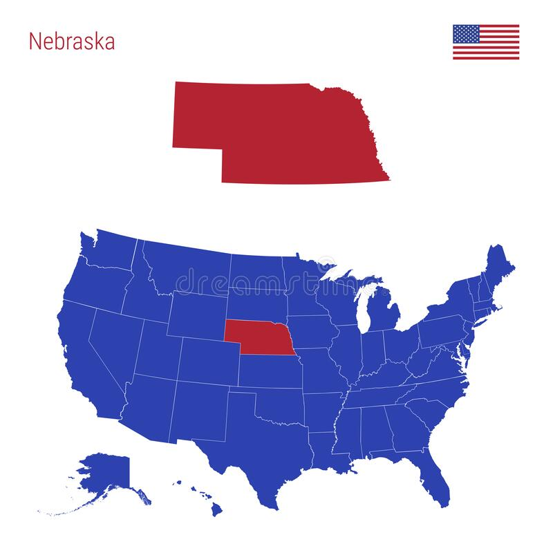 The great plains of north america slope east from the rocky mountains, extending south from canada through nebraska, and into the state of texas. The State Of Nebraska Is Highlighted In Red Vector Map Of The United States Divided Into Separate States Stock Illustration Illustration Of Focus Divided 144548183