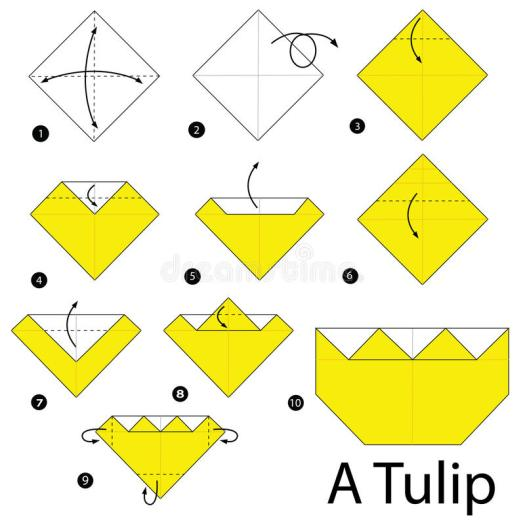 Origami tulip instructions step by origami tutorial lets make it step by instructions how to make origami a tulip stock mightylinksfo