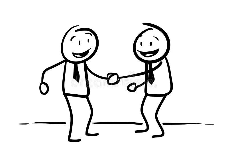 Stick Figure Handshaking Stock Vector Illustration Of
