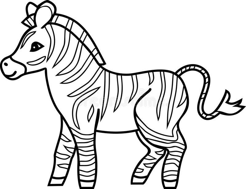 Striped Cartoon Zebra Coloring Page Stock Vector Illustration Of Zebra Flat 124941096