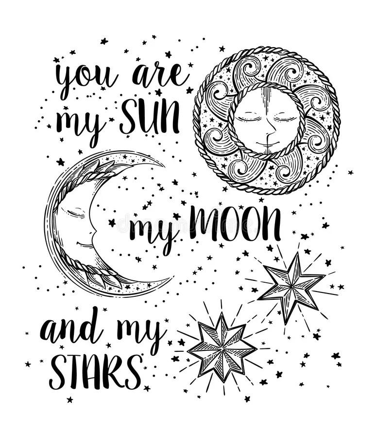 sun moon and stars stock vector. illustration of
