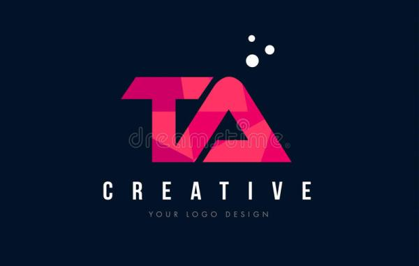 TA T A Letter Logo With Purple Low Poly Pink Triangles ...