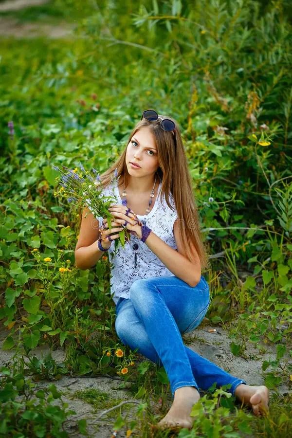 Teen Girl Boho barefoot. stock photo. Image of female ... on Small:zikqrscfop8= Teenage Girls  id=32585