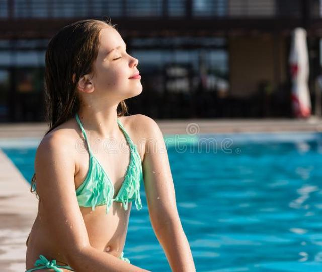 Young Girl Posing Near Swimming Pool Stock Photo Image Of Happy