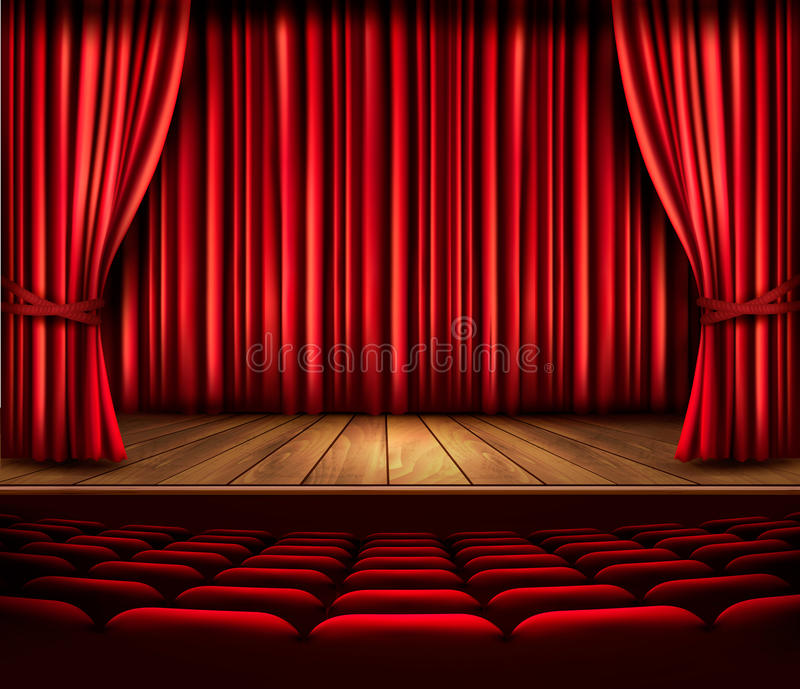 A Theater Stage With A Red Curtain Seats And A Spotlight