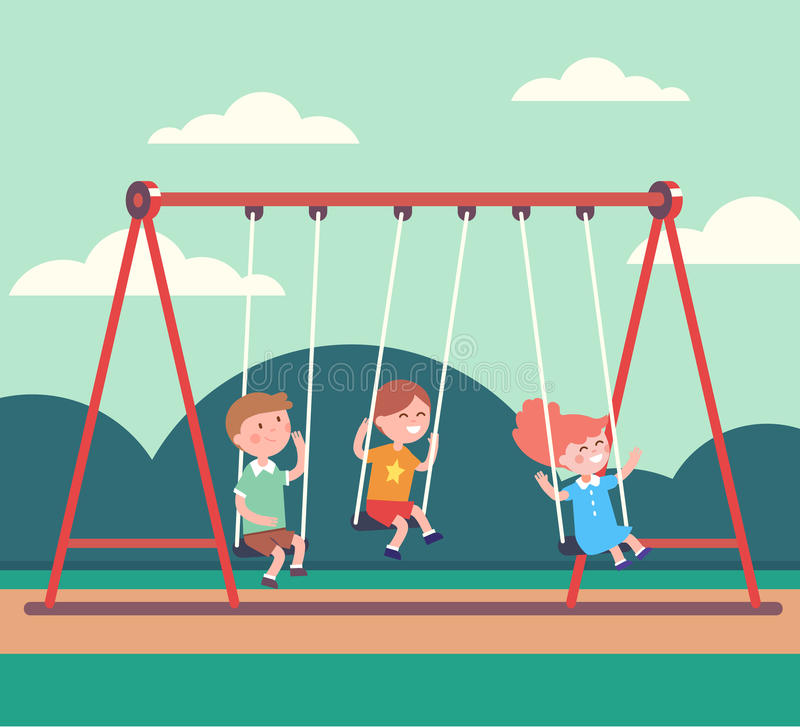 Three Kids Boys And Girl Swinging In Public Park Stock