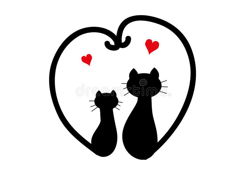 Download Two black cats in love stock vector. Illustration of event ...