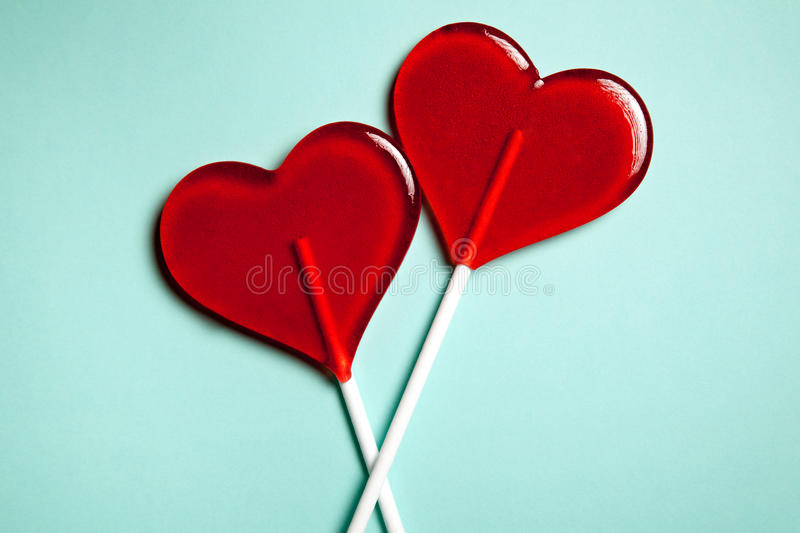 Two Lollipops Red Hearts Candy Love Concept Valentine