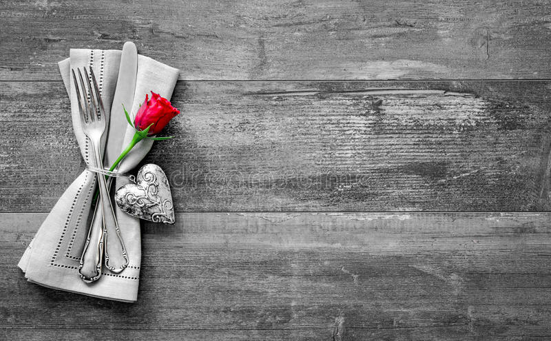 Valentines Day Table Place Setting Stock Photo Image