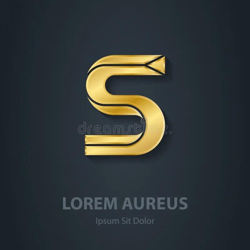 Vector Elegant Gold Font Letter S Template For Company