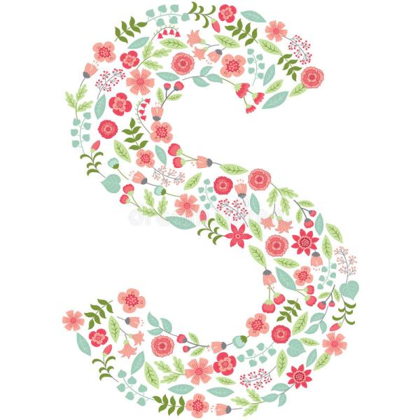 Vector Floral Letter S. Vector Floral Abc. English Floral ...