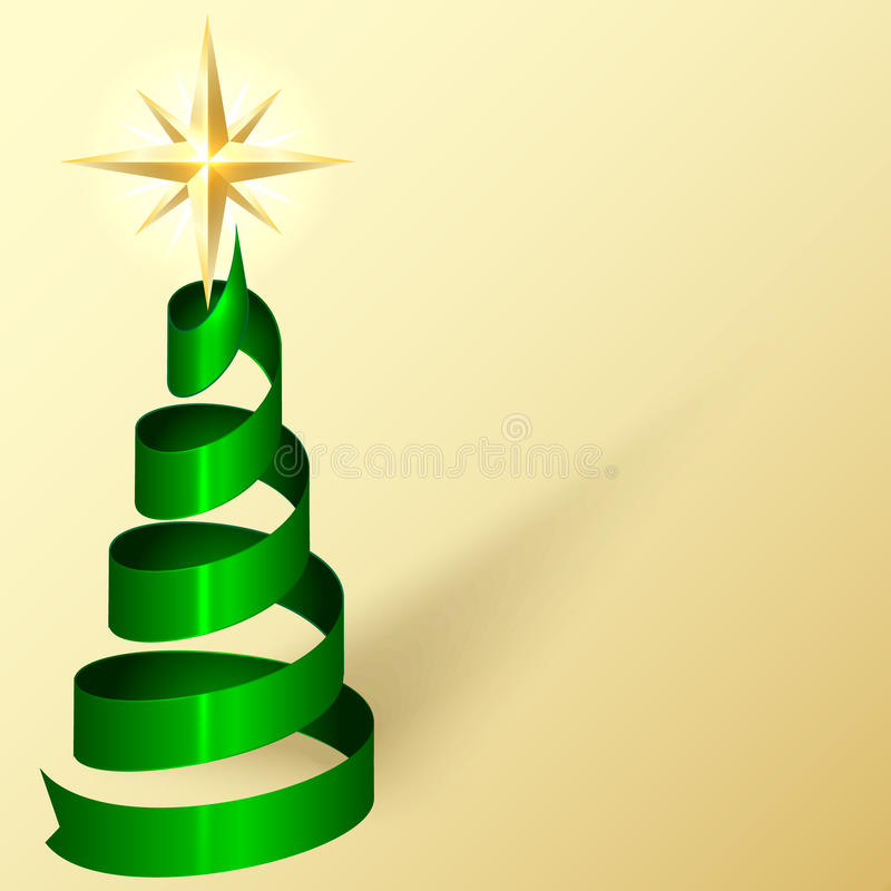 Vector Greeting Card With Ribbon Christmas Tree An Stock