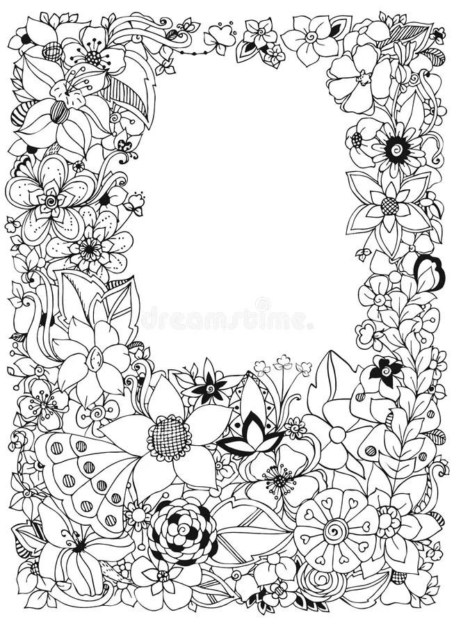 Vector Illustration Of Floral Frame Zentangle Doodling