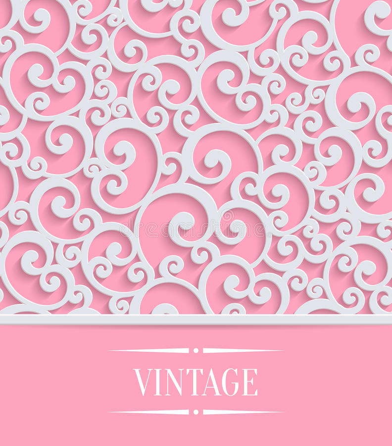 Vector Pink 3d Vintage Invitation Card With Floral Stock