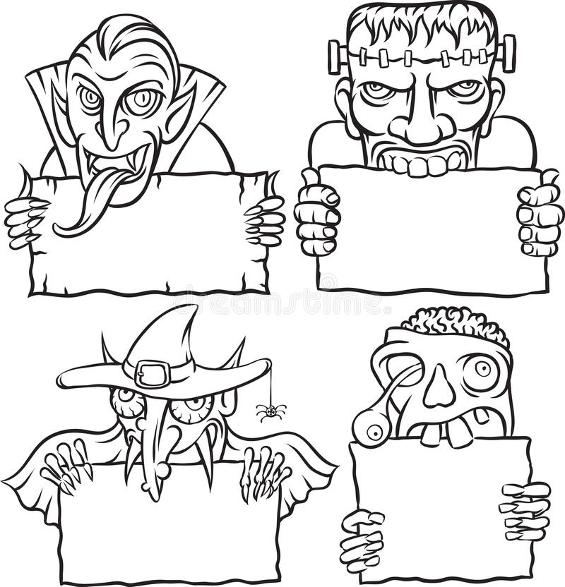 whiteboard drawing  halloween monsters and vampires stock