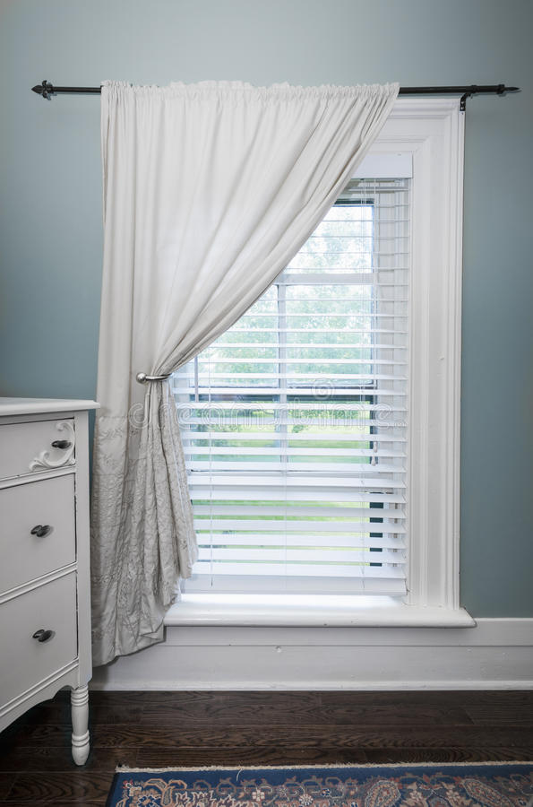 Window With Blinds And Curtain Stock Image Image Of Painted Farmhouse 38736719
