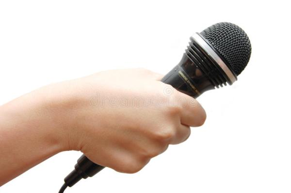 Woman Hand Holding A Microphone Stock Photo Image of