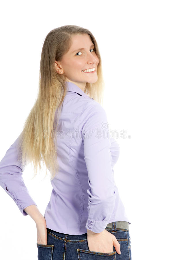Woman Looking Back Over Her Shoulder Stock Photo Image