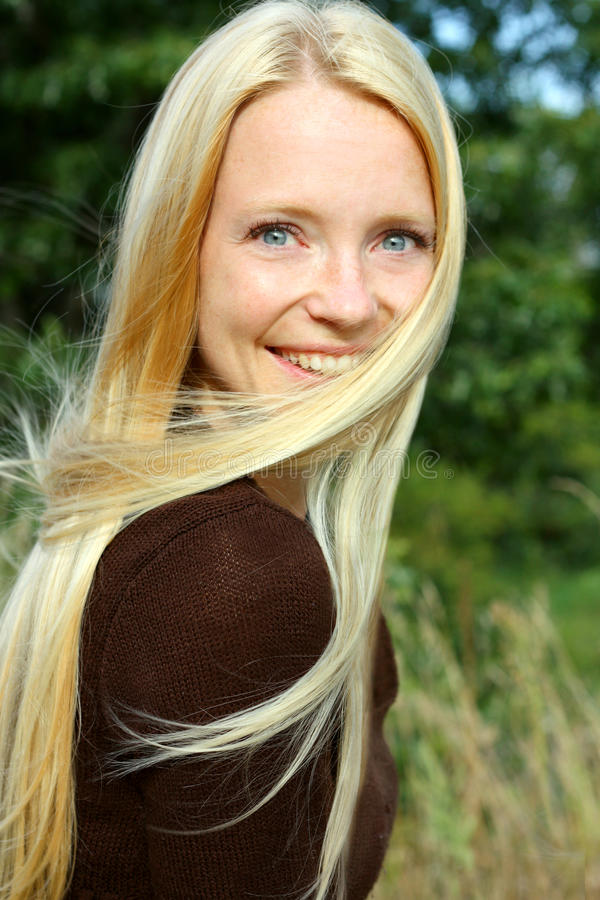 Woman In Nature With Blowing Hair Stock Photo Image Of