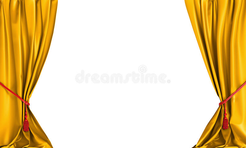 yellow theater curtains stock