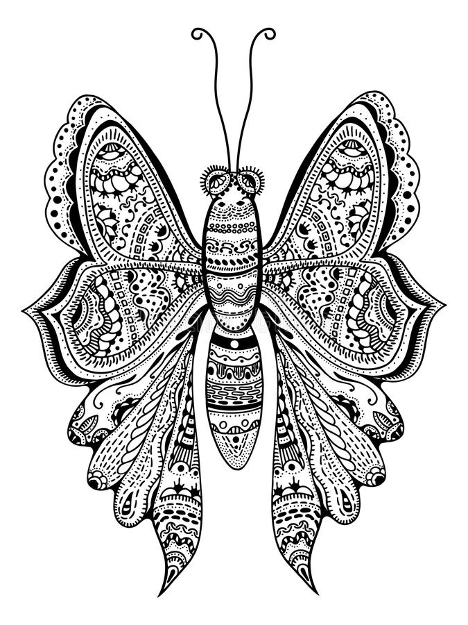 Zentangle Stylized Butterfly Stock Vector Illustration