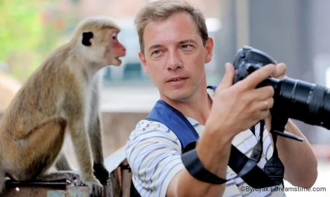 Photographer shows a monkey