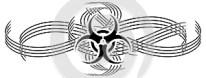 Artistic Bio hazard symbol tattoo isolated