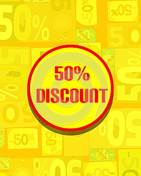 Colorful board for 50 discount in yellow tones