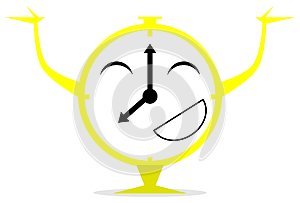 Happy red clock cartoon isolated