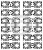 Set of Zodiac signs tattoo in black isolated