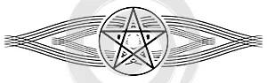 Pentacle tattoo on black decoration isolated