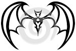 Isolated black and white stylized bat