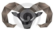 Ram head made in mosaic style isolated