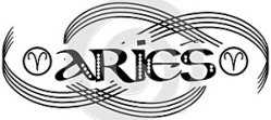 Black and white word aries tattoo isolated