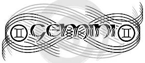Black and white word gemini tattoo isolated