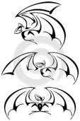 Set of stylized bats isolated