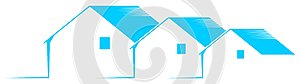 Logo with stylized houses in blue and white isolated