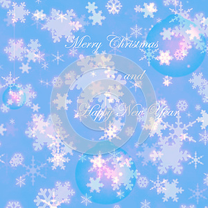 Merry Christmas and happy new year snowflakes winter greeting card